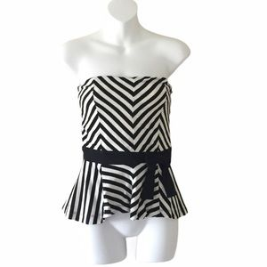 Forever 21 striped bow strapless peplum top
